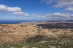 View across to the distant mountains  in Fuerteventura Canary is Royalty Free Stock Photo
