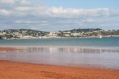 View across Tor Bay. From Paignton towards Torquay. On the English Riviera Devon England stock photo