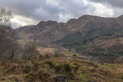 Craig Wen Summit View. A view across the valley from above Llyn Crafnant to the summit of Craig Wen, Snowdonia National Park Royalty Free Stock Image