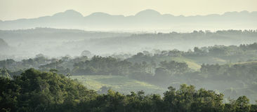 View across the Vinales Valley in Cuba. Morning twilight and fog. Stock Photography