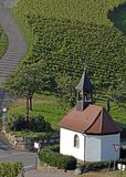 Chapel in the vineyards. View across the vineyards of Baden Germany, towards a small chapel near Durbach, Ortenau region of Germany royalty free stock image