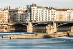 River Vltava and Prague royalty free stock images