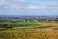 Lancashire landscape. View across west Lancashire from the hills between Belmont and Rivington Stock Images