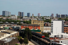 View across West London. A view from Shepherd's Bush looking across Notting Hill and North Kensington towards the centre of London.  A tube train on the Stock Photography