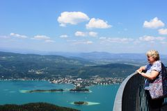 View across Worther See from tower Pyramidenkogel Stock Photography