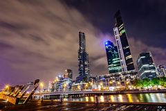 A view across the Yarra river atthe landmark of Melbourne downtown Stock Images