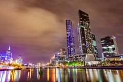 A view across the Yarra river atthe landmark of Melbourne downtown Stock Image