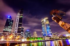 A view across the Yarra river atthe landmark of Melbourne downtown Royalty Free Stock Image