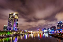 A view across the Yarra river at the landmark of Melbourne downtown Royalty Free Stock Image