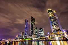 A view across the Yarra river at the landmark of Melbourne downtown. Royalty Free Stock Photography