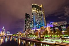 A view across the Yarra river at the landmark of Melbourne downtown Stock Photos