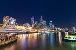 View across the Yarra River in Melbourne towards Flinders Street Station Royalty Free Stock Photo