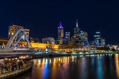 View across the Yarra River in Melbourne towards Flinders Street Station Royalty Free Stock Photography