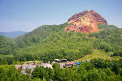 View of active volcano. Usu-zan, Hokkaido, Japan Stock Photos