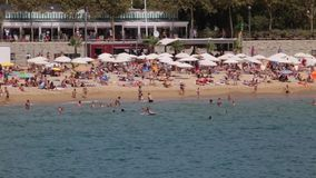 View the activity on the beaches of Barcelona.Time lapse.1 stock footage