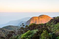 View from the Adams peak, Sri Lanka. Beautiful landscape at sunrise viewed from Adams peak, Sri Lanka royalty free stock photo
