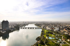View of Adana and Seyhan river over the minaret of the mosque Stock Images