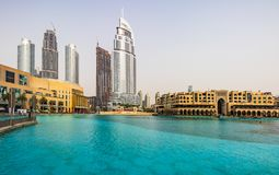View of Address Hotel Downtown Dubai next to Dubai Mall. Dubai -. Address Hotel Downtown Dubai and Dubai Mall Royalty Free Stock Image