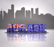 View of Adelaide. Word Adelaide with National Flag of Australia near skyline silhouette royalty free stock photo