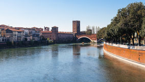View of Adige river with Castelvecchio in Verona Royalty Free Stock Photography
