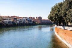 View of Adige river with Castelvecchio in Verona Royalty Free Stock Photos
