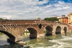 View of Adige river and Pietra bridge Stock Image