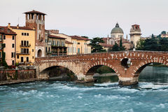 View of Adige River and Saint Peter Bridge Stock Images