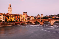 View of Adige River and Saint Peter Bridge Stock Photo