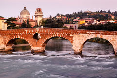 View of Adige River and Saint Peter Bridge Royalty Free Stock Images