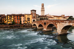 View of Adige River and Saint Peter Bridge Royalty Free Stock Photos