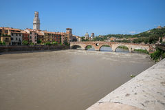 View of the Adige river and St Peter bridge arch, Verona, Stock Photos