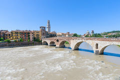 View of the Adige river and St Peter bridge arch, Verona, Royalty Free Stock Photo