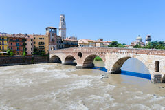 View of the Adige river and St Peter bridge arch, Verona, Royalty Free Stock Photography