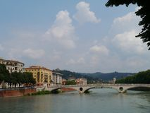 View of the Adige river in Verona in Italy Stock Photos