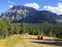 Adirondack chairs overlooking Mount Rundle from Tunnel Mountain viewpoint Banff National Park Alberta Canada, Canadian Rocky Mount Stock Images