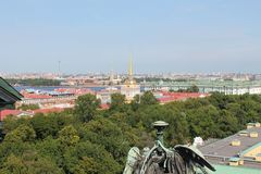 View of the Admiralty from the colonnade of St. Isaac`s Cathedral. St. Petersburg. stock photos