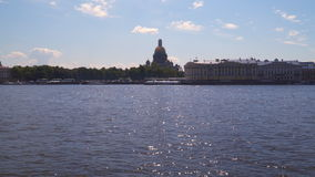 View of the Admiralty Embankment in St. Petersburg stock video footage