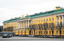 View of Admiralty in historical city center of Saint-Petersburg, Russia. Royalty Free Stock Photography