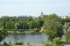 View of the Admiralty pond in the Moscow Victory park. St. Petersburg Stock Images
