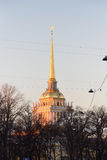 View of the Admiralty spire in the Voznesensky prospect Royalty Free Stock Photography