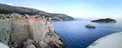 Panoramic view of Dubrovnik old town from the walls stock photo