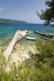 View on Adriatic sea and boat near Orebic on Peljesac peninsula, Dalmatia, Croatia Stock Photography