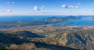 View of Adriatic sea coast and Lustica peninsula near Tivat cit. Bird's-eye view of Adriatic sea coast and Lustica peninsula near Tivat city. Montenegro royalty free stock photo