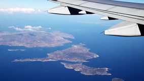 View of the Aegean islands. Of the plane, Greece stock video