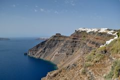 View of the Aegean sea and the cliffs of the coastline of Santorini. Greece stock photos