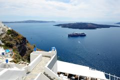 The view on Aegean sea and cruise ship Royalty Free Stock Image
