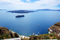 The view on Aegean sea and cruise ship Stock Photos