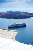 The view on Aegean sea and cruise ship Stock Image