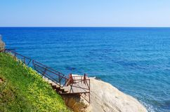 View of the aegean sea. Descent to water stock photo
