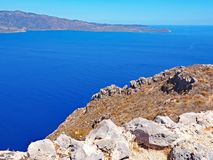 View of the Aegean Sea from the hilltop fortress of Monemvasia, Greece. View of the Aegean Sea from the hilltop fortress of Monemvasia located in Greece Royalty Free Stock Photos